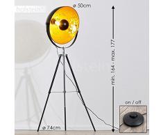 Lampe sur pied projecteur Saturn XXL – Lampadaire trépied en métal noir avec coupole dorée pivotante et pied télescopique – Luminaire design industriel chic compatible avec des ampoules LED