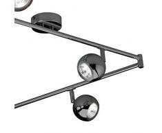 MiniSun Rétro Boule Plafonnier / Applique, Lustre 3 x Rail Droite, 6 Spot Chrome Foncé Polis Entièrement Réglable 50 watt GU10 ampoules (non fournis)