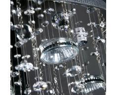 Lustre - A++ à E - plafonnier lampe en cristal - 786 cristaux - Ø 50 cm - H 100 cm - en acier inoxydable chromé