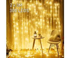 Avoalre 2mx3m Rideau Lumineux LED,Guirlande Lumineuses Rideau 300 LED 8 Mode Imperméable Décoration Intérieur Extérieur Maison, Jardin, Fête, Noël, Mariage,Fenêtre, Anniversaire (Blanc Chaud)