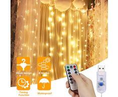 Rideau Lumineux, Fenêtre Guirlande Lumineuse Rideau prise USB 300 LED 3M*3M, avec Clips décoratifs, 8 Modes déclairage, Ambiance pour Décoration Noël, Mariage, Anniversaire, Balcon, Terrasse, Chambre