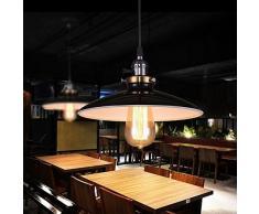 Unimall Suspension Luminaire Industrielle Antique Style Vintage de Lampe Culot Edison E27 en Métal 60W pour Salon Cuisine Chambre Restaurant Café Repas Boutique Noir