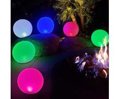 Boule de lumière LED Gonflable,14 Globe Night Lights RGB Couleur Changeante,Dimmable Orbs Mood Light Sphere Lampe de Table,IP68 étanche Floating Pool Lights,Bright Light pour la maison,Bureau,Jardin