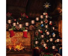Guirlande Lumineuse Boule de Flamme,Tomshine 8 Boules 10M LED Guirlande dHalloween, 4 Modes déclairage, IP44 avec Télécommande, 4 Modes de Minuterie (2/4/6/8H) pour Jardin Patio Noël Halloween