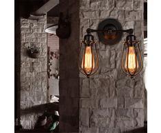 Vintage Rustique 2 têtes lampe murale Cage d'oiseaux mur de feu Applique Luminaires Décor Cuisine couloir