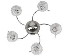Jago® Plafonnier au design moderne - 5 abat-jour en forme de boules de fils d'aluminium - classe A++ à E