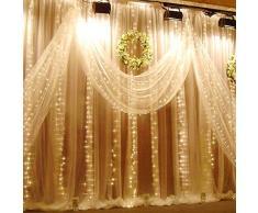 Josechan Rideau Lumineux 304 LED Fenêtre Guirlande Lumineuse Rideau, 3 m x 3 m, 8 Modes de Réglage, Lumière du Jour Blanc String Fée Lumière pour Extérieur Intérieur Mur Décoration Mariage Parti