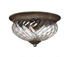 Plafonnier Plantation bronze et verre, 3 ampoules