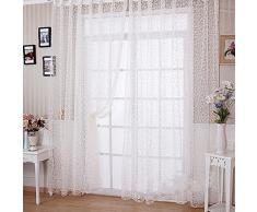 Hoomall 1 Pièce Rideau Translucides Lumineux Rideaux Intérieur de Fenêtre Motif Fleur 100x200cm Blanc