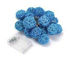 Guirlande Lumineuse Boule, Morbuy Batterie Lumineuse Boules 20 Led boules Longueur 2 Mètres Alimenté par Batterie Ficelle Lumière Décoration Pour La Saint Valentin Noël Fêtes Mariage d'autres Fêtes (Bleu)