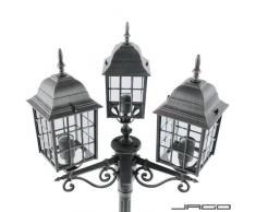 Jago - Lampadaire de jardin - A++ à E - Noir-argenté - avec 3 luminaires - DIVERSES COULEURS AU CHOIX