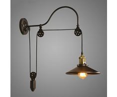 NIUYAO Lampe Applique Murale & Suspension Abat-jour Métal Rétro Industrielle Eclairage Décorative Réglable-Noir