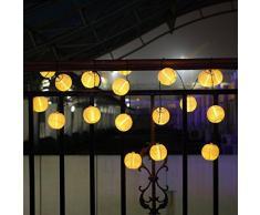 koiiko® 15,7 M 20 LED Guirlande Lumineuse Solaire Lanterne Boule Multicolore étanche pour extérieur, jardin, Garden, Maison, Jardin, Chemin, décoration Noël, paysage, jaune