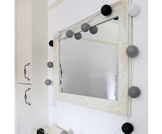 Guirlande Lumineuse Cosy Nuances Gris - Boule Coton 20 LED Blanc Chaud 3,6 Mètres