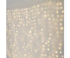 Festive Lights Rideau Lumineux Micro Câbles Cuivrés 2m x 2m - Éclairage 400 LED Blanc Chaud - Decoration Chambre, Mariages, Salon