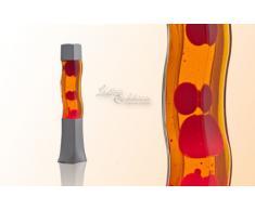 Licht-Erlebnisse Carré 42 cm de Haut Lampe à Lave en Orange Rouge RA1/5/717 Lampe à Lave