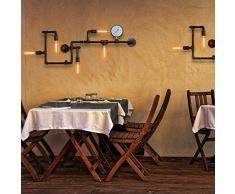 BAYCHEER Lampe Applique Murale Rétro Industrielle E27 avec 5 Douille Métal Tuyau Eclairage Decoratif