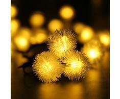 SUAVER 16.4ft/20 LED Guirlande Lumineuse Chuzzle Boule Lampe à énergie solaire lumineux de Noël extérieur étanche pour jardin décoration maison mariage fête de Noël