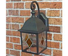 Rustique Applique murale en noir avec LED 230 V 1 x 12 W E27 Lampe murale en aluminium et verre pour jardin/terrasse jardin voie terrasse Ampoules Lampe éclairage