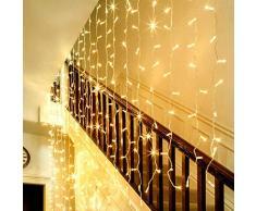 LE 3m * 6m 594 LEDs Rideau lumineux, 8 modes Guirlande lumineuse, Blanc Chaud 3000K, Décoration lumineuse pour fenêtre, Idéal pour la Toussaint/ Halloween/ Noël/ Fêtes/ Mariages