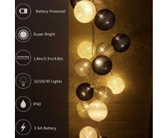 Guirlande Lumineuse, Morbuy Batterie Chaîne de Lumière Boules Coton LED Cosy Lumière Couleur Décoration Pour La Saint Valentin Noël Fêtes Mariage d'autres Fêtes Ou Occasions Etc (3.3m / 20 Boule lumière, Gris)