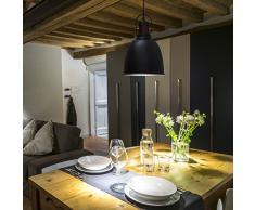 Relaxdays 10019106 Luminaire suspension lampe de plafond GLOCCA H x l x P 134 x 24 x 24 cm hauteur réglable abat-jour en forme de cloche en métal plafonnier noir