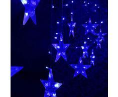 Bloodfin LED Forme de pentagramme Rideau de lumière,Fée rideau lumineux led DIY Éclairage LED de cour Rideau de Noël suspendu à étoiles avec cordon Lumières de décoration d'anniversaire (A)