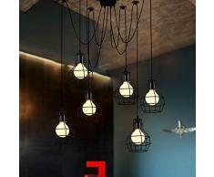 NIUYAO Semi-encastré Plafonnier Abat-jour Métal Cage Réglable Rétro Industrielle Lustre Suspension 6 Lampe-Noir