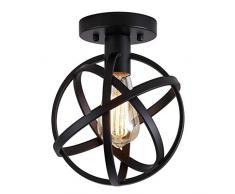 Yncc Luminaire Suspendu Lumière Pendante Boule LED Moderne Plafonnier à Montage Semi-Encastré avec Mini-Cage en Métal, pour Hall Dentrée, Couloir, Escalier, Porche, Chambre à Coucher