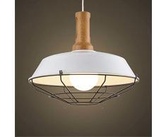 NIUYAO Suspension Lustre Abat-jour avec Grilles Industrielle Pendant Lampe Ceiling Light Chandelier Réglable-Blanc