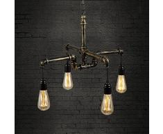 NIUYAO Suspension Lustre Style Tuyau en Métal Industriel Vintage Chandelier Hanging Light Réglable 4 Lampe