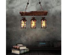 Lampe à Suspension Vintage Suspension Industrielle Métal Noir Et Verre en Bois Rustique Lustres Réglable en Hauteur Pour E27 Convient Pour Une Chambre Salon Cuisine Restaurant de Lampe Suspendue