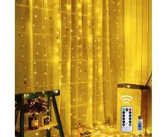 Shine4fun Rideau Lumineux 3m*3m USB Guirlande Lumineuses avec 300 LED 8 Modes dEclairage Décoration pour Rideau De Mariage Extérieur Intérieur Fête De Noël Jardin Chambre [Classe énergétique A+++]
