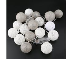 rosenice coton boule 20 LED Guirlande Lumineuse pour mariage Garden Party Decoration Serial (Gris)