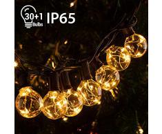 11,7M LED Guirlande Lumineuse Guinguette G40 Ampoule 30 +1 de Rechange 【IP65 / avec Crochet】Quntis Décoration Étanche à Boule Intérieure/Extérieure Blanc Chaud pour Fête Noël Chambre Jardin Party