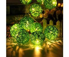 Morbuy Guirlande Lumineuse Boule, Batterie Lumineuse Boules 20 LED Boules Longueur 2 Mètres Alimenté par Batterie Ficelle Lumière Décoration pour La Saint Valentin Noël Fêtes (Vert)