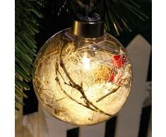 Guirlande Lumineuse Boule de Noel Transparent Sapin de Noel Boules Personnalisable LED Flocon de Neige (D)
