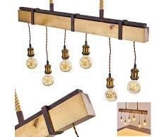 Suspension Rimfosa en bois, métal et cordes, 6 lampes pendantes à hauteur réglable, luminaire vintage idéal au dessus dune table de salle à manger, pour 6 ampoules E27 max 60 Watt, compatible LED