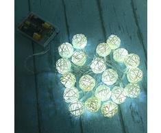 Ularma 20 LED couleur Chaîne de boule de rotin Guirlande lumineuse Pour Xmas Mariage Parti Chaud (blanc)