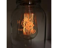 Kilner Bocal à confiture lampe rétro avec une ampoule à incandescence culot industrielle noir perlé ampoule de couleur Variateur-interrupteur et B3