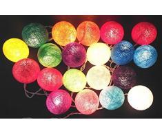 Dealbeta Guirlandes Lumineuses Interieur Guirlande Lumineuse à Piles, 2.6M 20 LED Classique Boule Coton Léger Décoration Pour la Saint-Valentin, Noël, fêtes, mariage, d'autres fêtes ou occasions, etc. ---Multicolore
