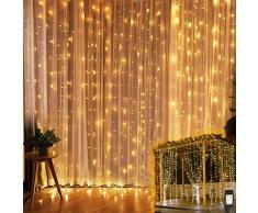 YINUO LIGHT Rideau Lumineux, 3m*3m Guirlande Lumineuses avec 300 LED, 8 Modes dEclairage, Basse Tension 31V, Décoration pour Rideau De Mariage Patio Extérieur Intérieur Fête De Noël Jardin Chambre