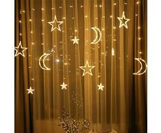 FBGood Lumière Guirlande de Noël LED Étoile Lune - Rideaux Lumineux Guirlandes Lumineuses pour Noël Fête Vacances Mariages Fenêtres Eclairage Décoration Atmosphère Chaleureuse et Romantique (Blanc)