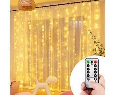 VIPMOON Guirlandes Lumineuses Rideau,3M*3M 300LEDs Rideau Lumineux,Alimenté USB 8 Modes dEclairage,Télécommande Guirlande Lumineuse LED 8 Modes pour Décoration Extérieur Intérieur -Blanc Chaud