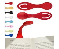 Lampe de lecture-marque page | Lampe de lecture LED flexible, pliable, sans fil, à piles (incluses) | Lumière de voyage, pour musiciens, livres, liseuses et pour lire au lit | Rouge