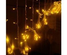 KKGUD LED Guirlande Rideau Lumineux 3M×3M 300 leds avec la Prise Française 8 Modes de Flash pour Décoration Noël / Soirée / Festival/ Mariage, Fête (Blanc Chaud)