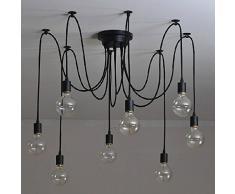 olayer Vintage Edison industrielle Steampunk Loft Lustre Pendentif lampe, noir, 8heads