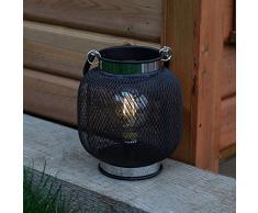 Festive Lights Lanterne dintérieur à Piles Effet Filament en métal pour décoration dintérieur (Ronde), Noir
