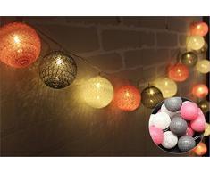 Guirlande lumineuse LED Bubble Coton 3.5m 20 Boule 220V (blanc+gris +rose)
