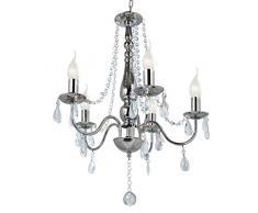 Jago - Lustre chandelier en cristal - 5 ampoules de 40 W - (Ø/H): env. 68/50 cm